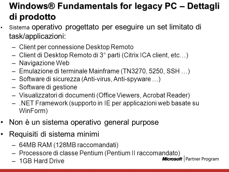 Windows® Fundamentals for legacy PC – Dettagli di prodotto