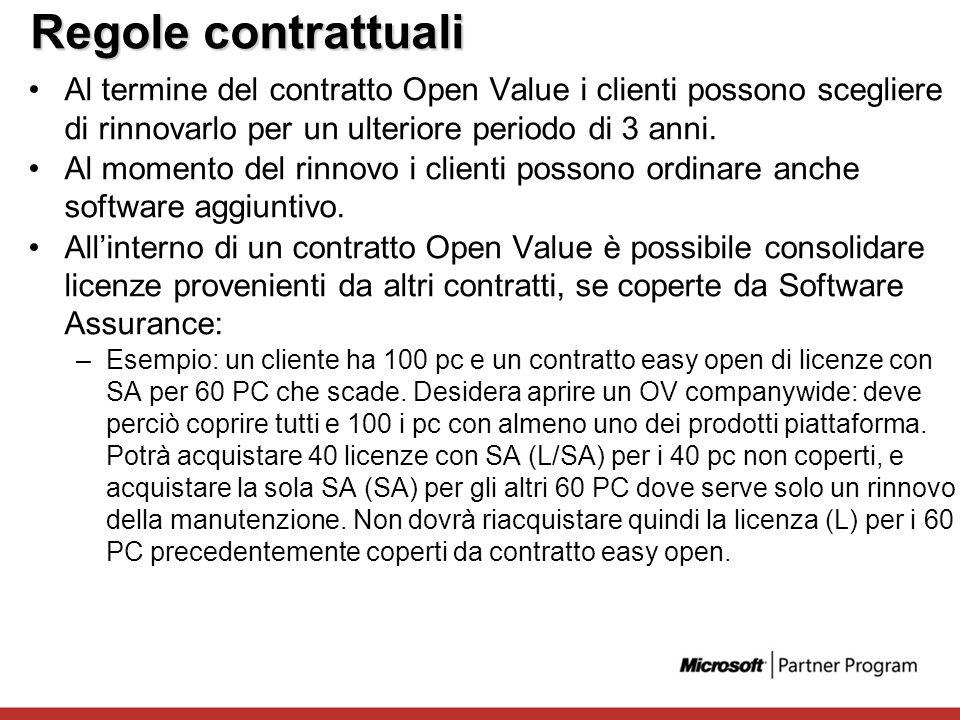 Regole contrattuali Al termine del contratto Open Value i clienti possono scegliere di rinnovarlo per un ulteriore periodo di 3 anni.