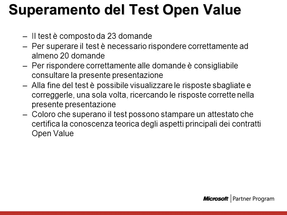 Superamento del Test Open Value