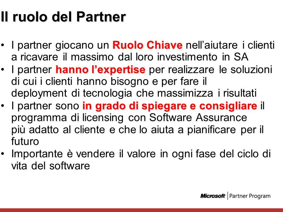 Il ruolo del Partner I partner giocano un Ruolo Chiave nell'aiutare i clienti a ricavare il massimo dal loro investimento in SA.