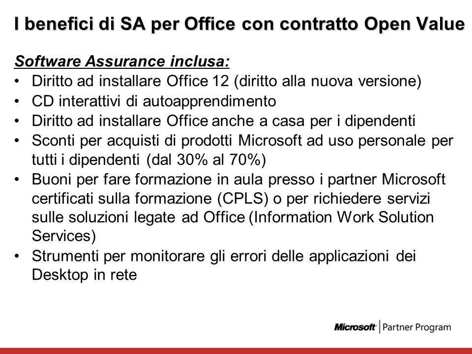 I benefici di SA per Office con contratto Open Value