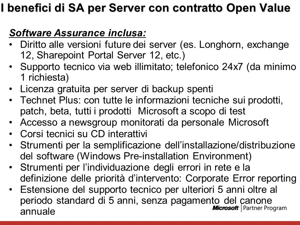 I benefici di SA per Server con contratto Open Value