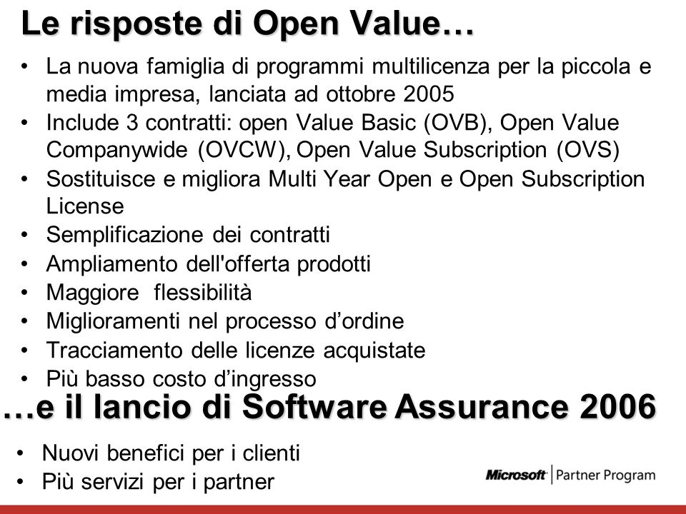 Le risposte di Open Value…