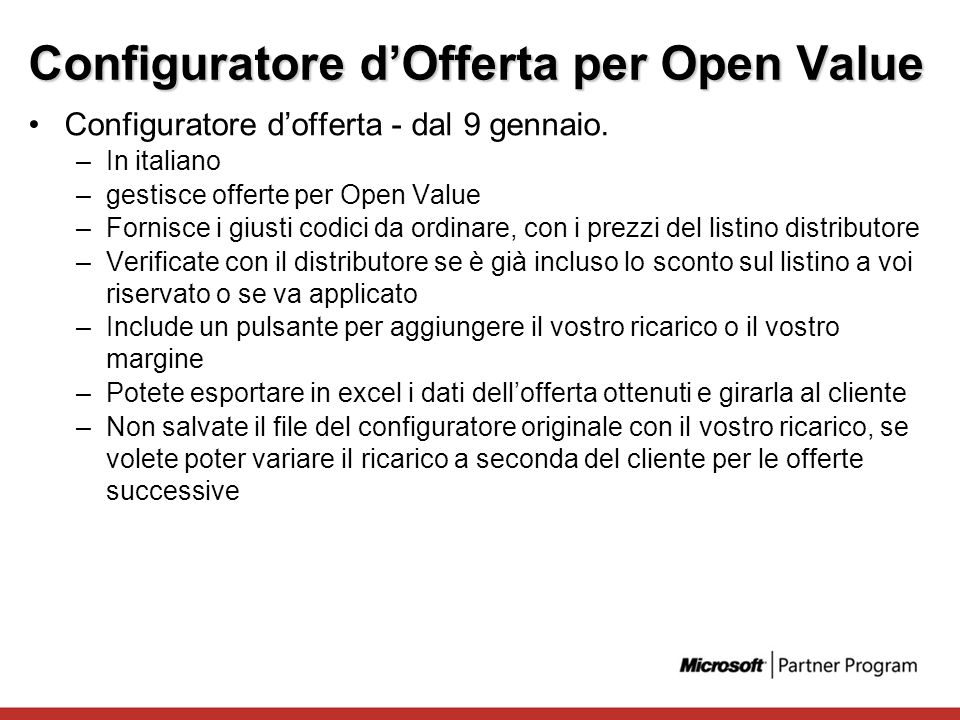 Configuratore d'Offerta per Open Value