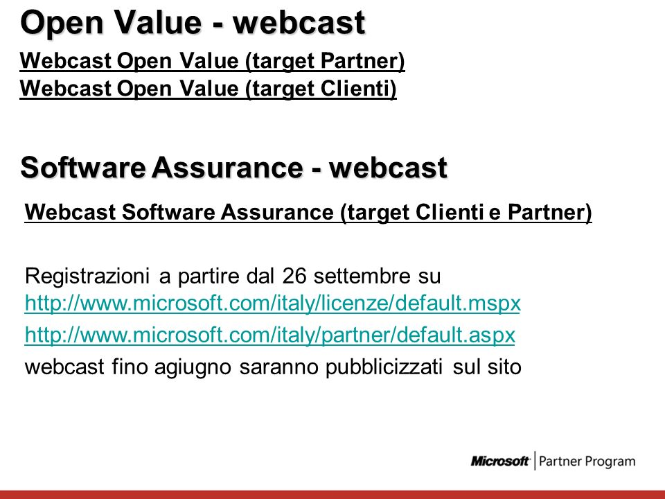 Open Value - webcast Software Assurance - webcast