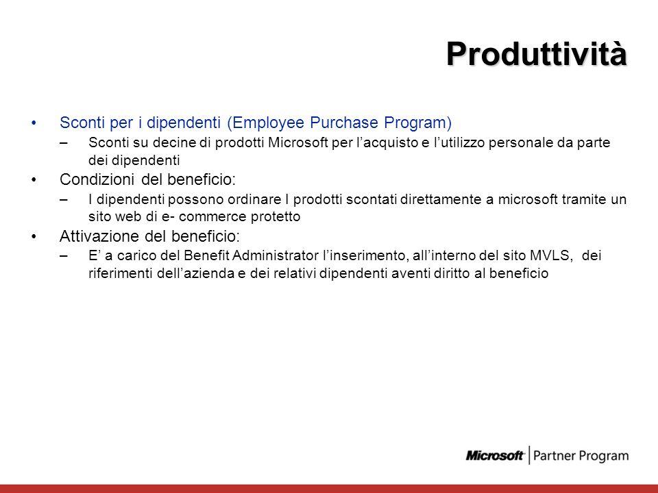 Produttività Sconti per i dipendenti (Employee Purchase Program)