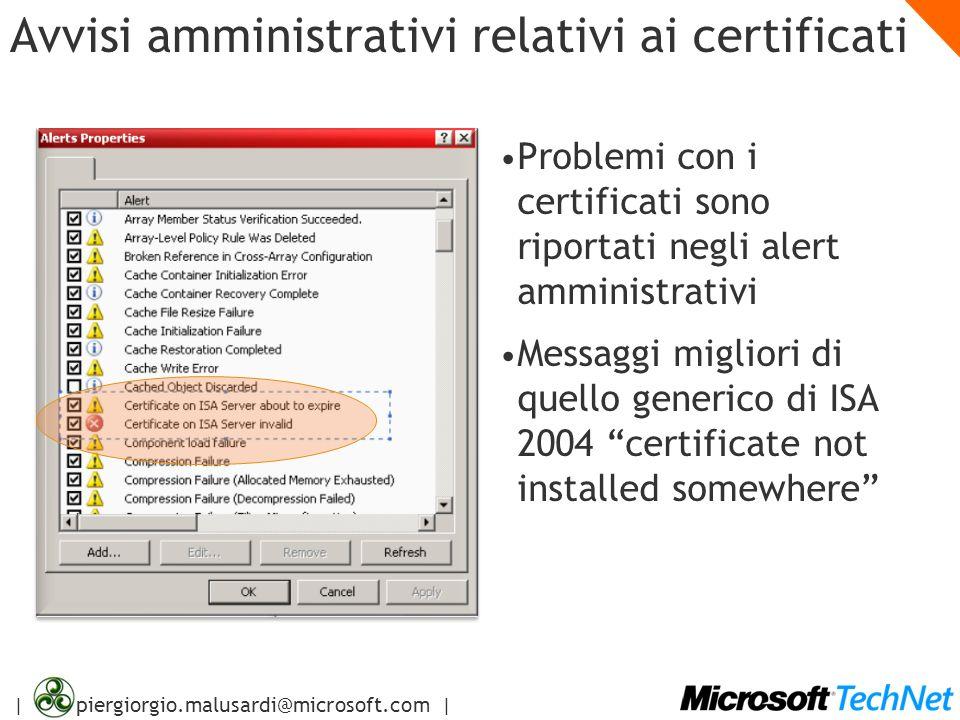 Avvisi amministrativi relativi ai certificati