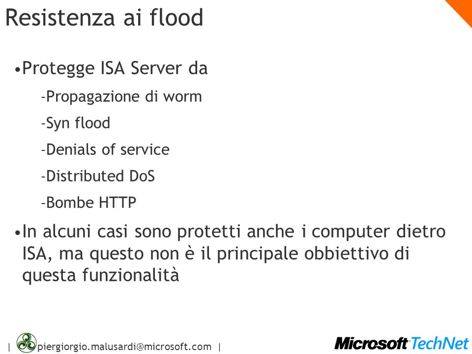 Resistenza ai flood Protegge ISA Server da