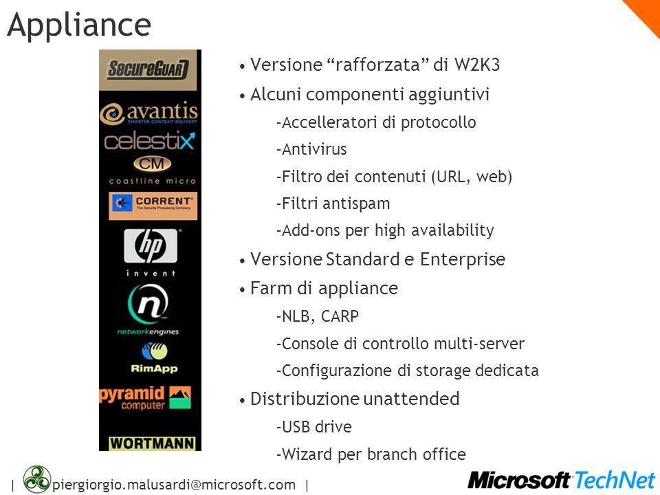 Appliance Versione rafforzata di W2K3 Alcuni componenti aggiuntivi