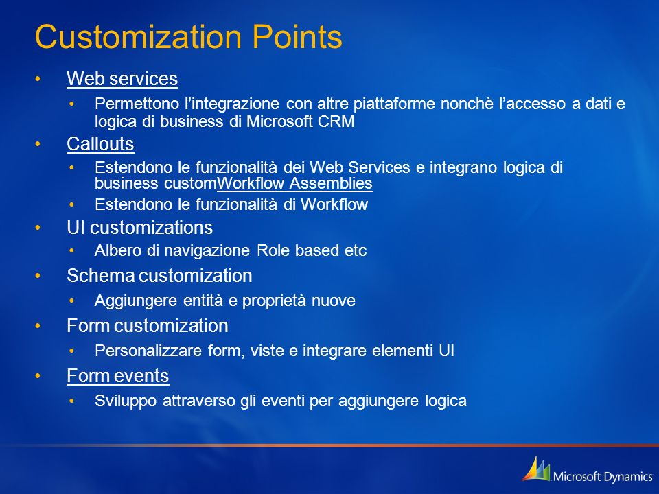 Customization Points Web services Callouts UI customizations