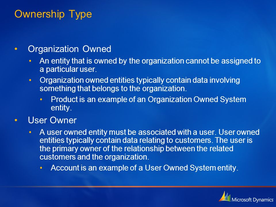 Ownership Type Organization Owned User Owner