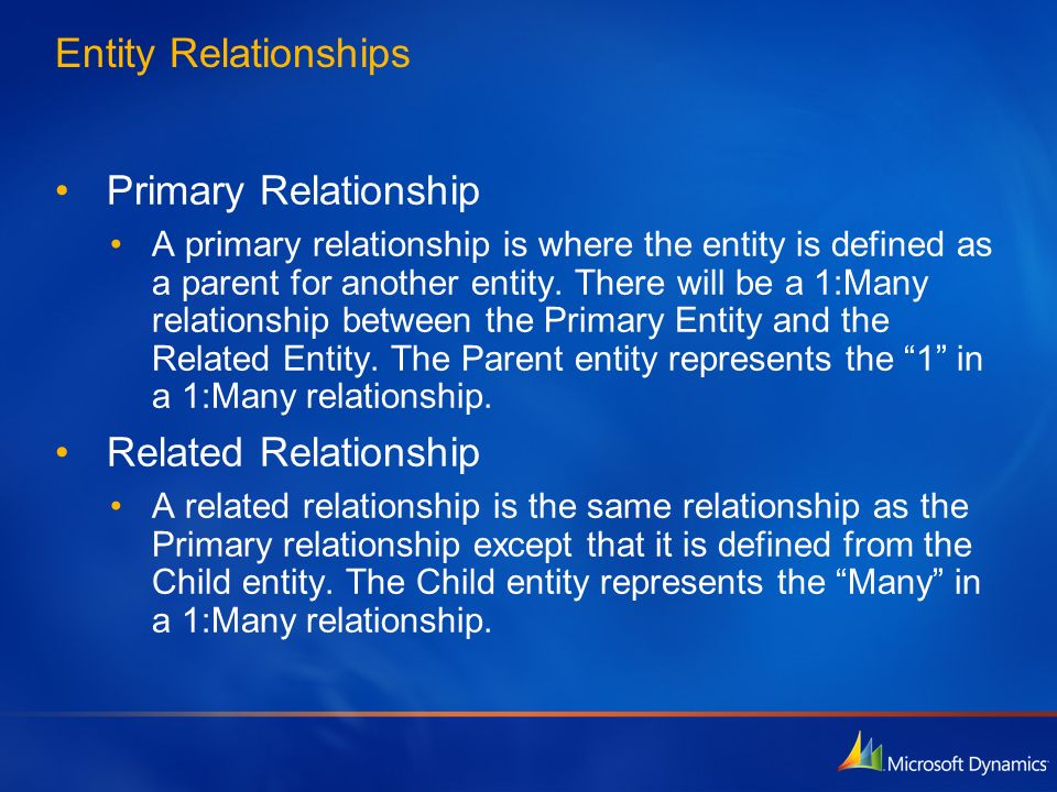 Entity Relationships Primary Relationship Related Relationship