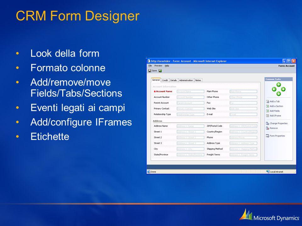 CRM Form Designer Look della form Formato colonne