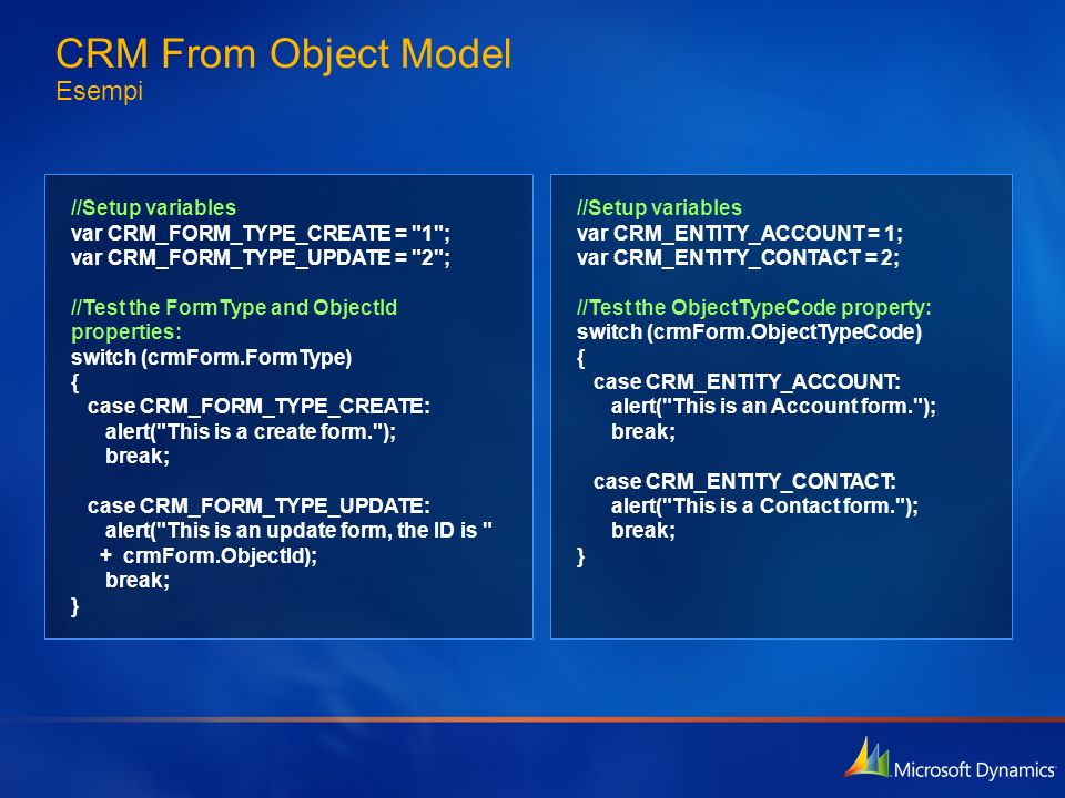 CRM From Object Model Esempi