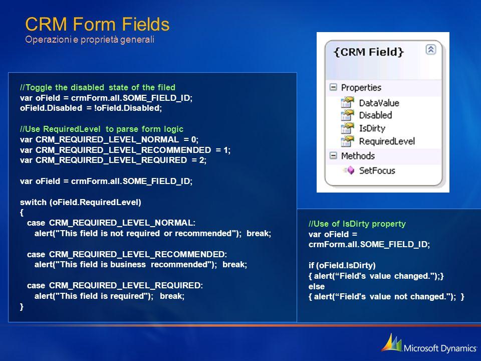 CRM Form Fields Operazioni e proprietà generali