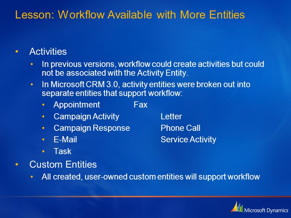 Lesson: Workflow Available with More Entities