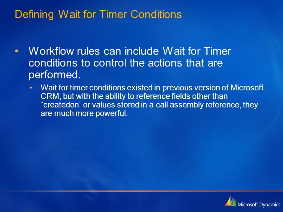 Defining Wait for Timer Conditions
