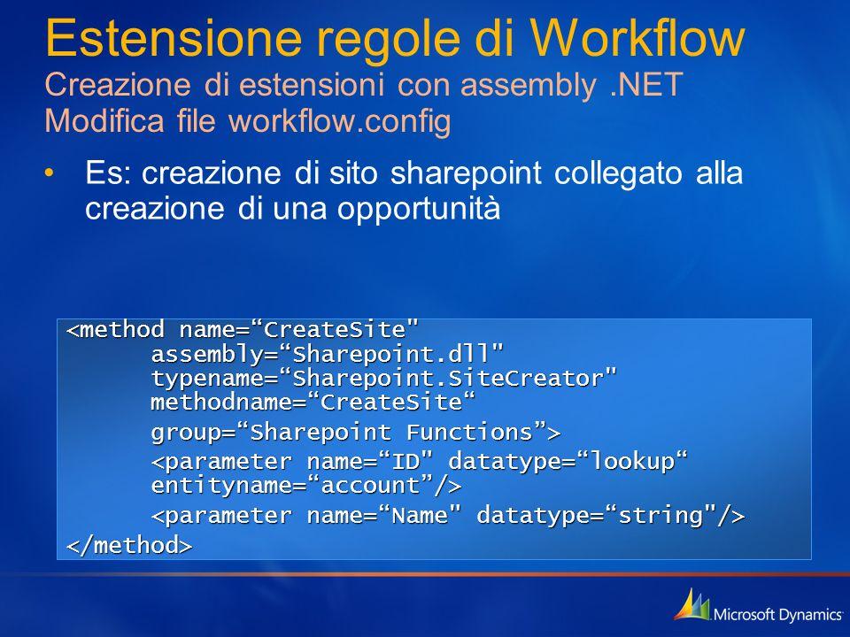 Estensione regole di Workflow Creazione di estensioni con assembly