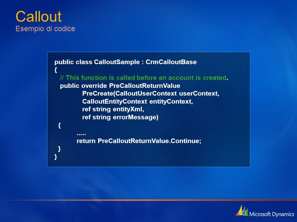 Callout Esempio di codice