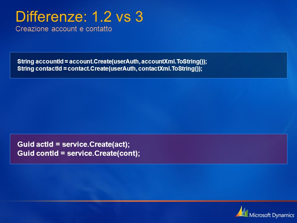 Differenze: 1.2 vs 3 Creazione account e contatto