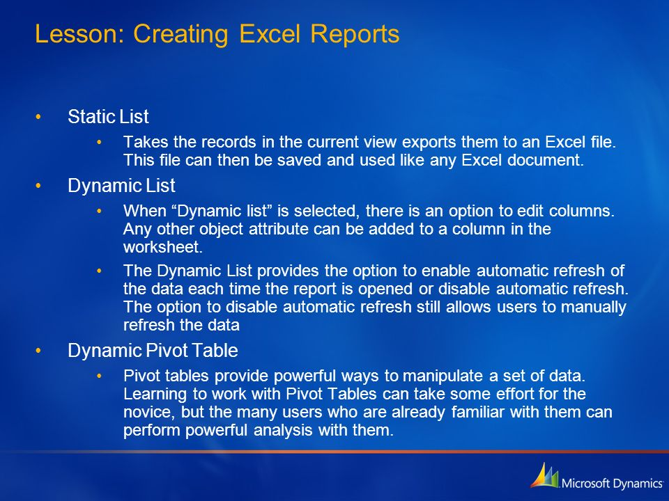Lesson: Creating Excel Reports