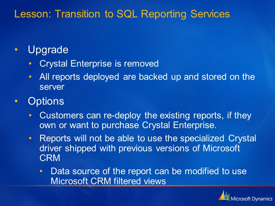 Lesson: Transition to SQL Reporting Services