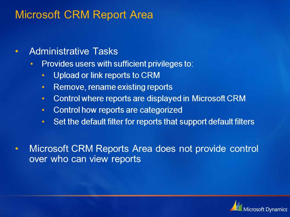 Microsoft CRM Report Area