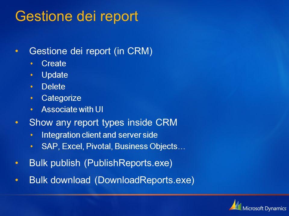 Gestione dei report Gestione dei report (in CRM)