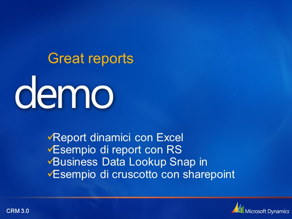 Great reports Report dinamici con Excel Esempio di report con RS