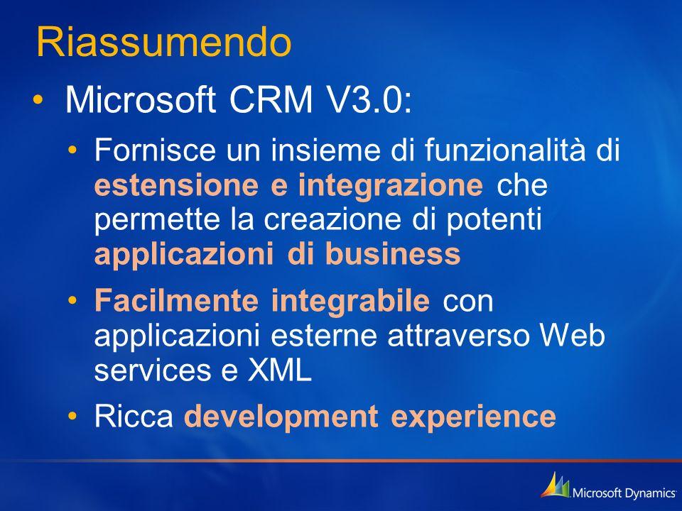 Riassumendo Microsoft CRM V3.0: