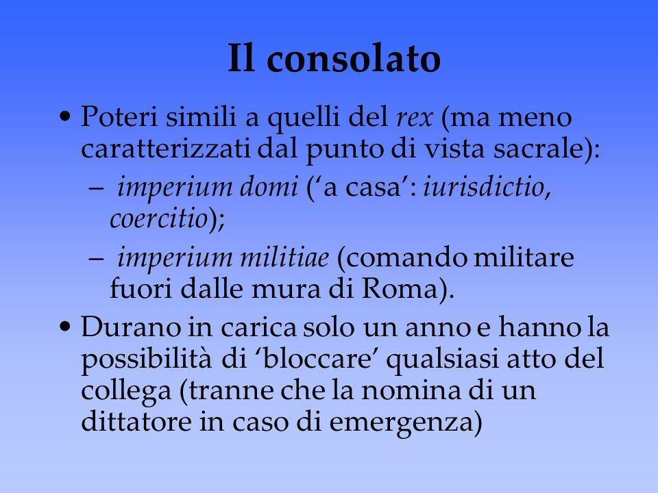 Il consolato Poteri simili a quelli del rex (ma meno caratterizzati dal punto di vista sacrale): imperium domi ('a casa': iurisdictio, coercitio);