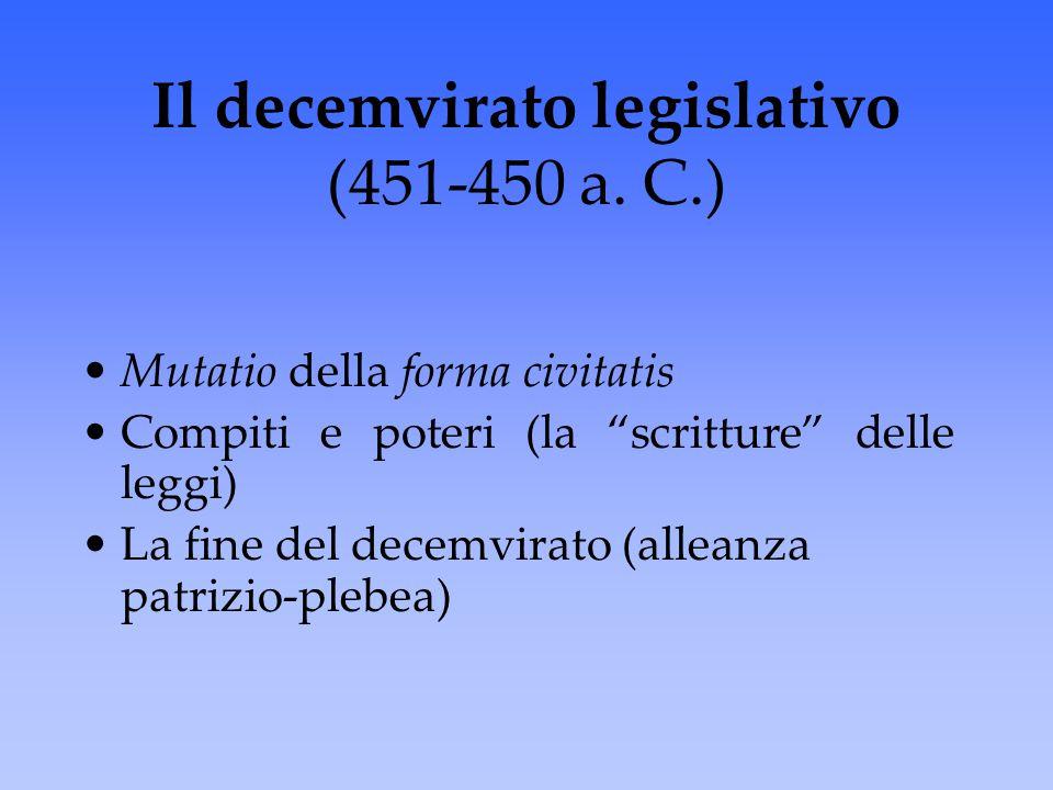 Il decemvirato legislativo (451-450 a. C.)