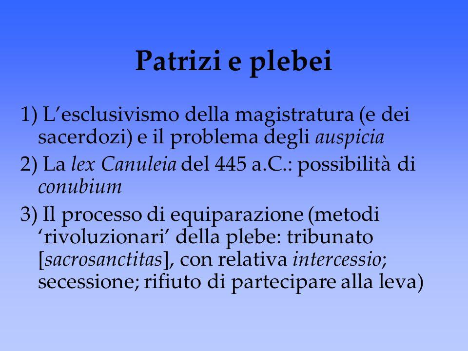 Patrizi e plebei 1) L'esclusivismo della magistratura (e dei sacerdozi) e il problema degli auspicia.