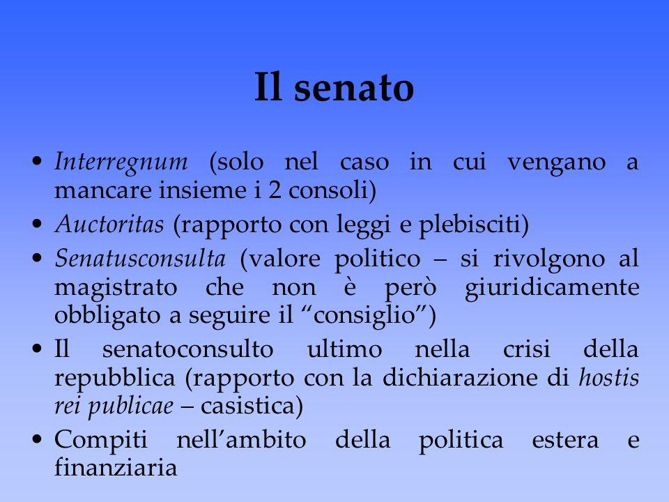 Il senato Interregnum (solo nel caso in cui vengano a mancare insieme i 2 consoli) Auctoritas (rapporto con leggi e plebisciti)