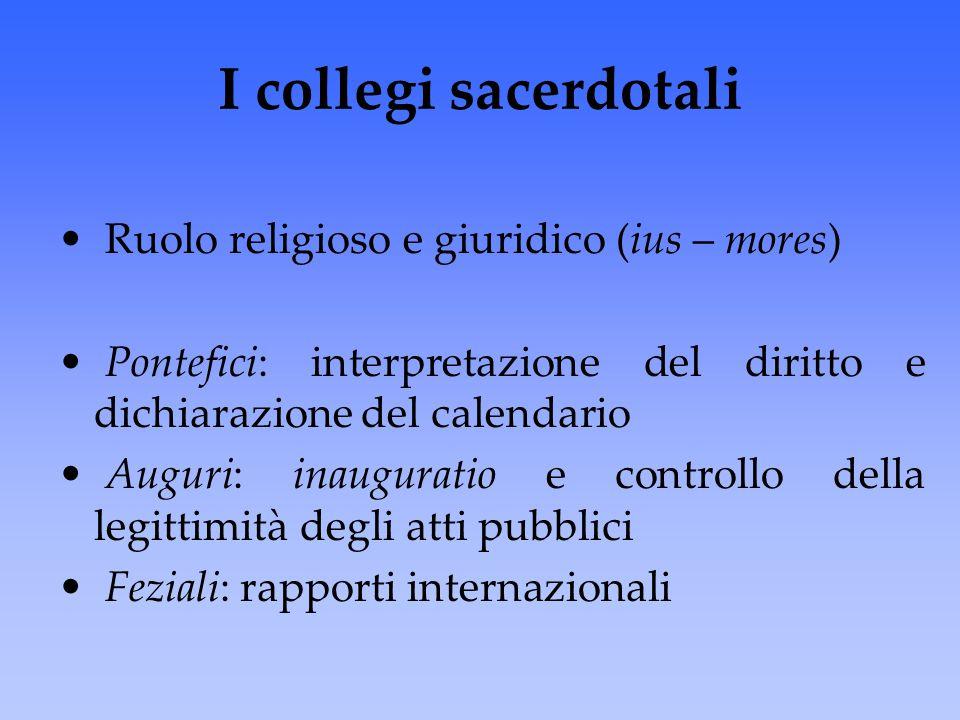 I collegi sacerdotali Ruolo religioso e giuridico (ius – mores)