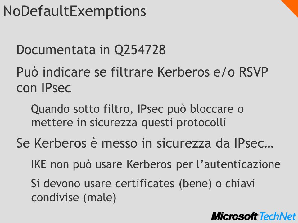 NoDefaultExemptions Documentata in Q254728