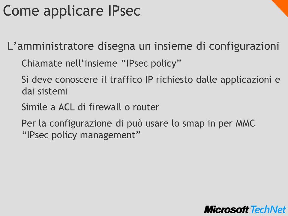Come applicare IPsec L'amministratore disegna un insieme di configurazioni. Chiamate nell'insieme IPsec policy