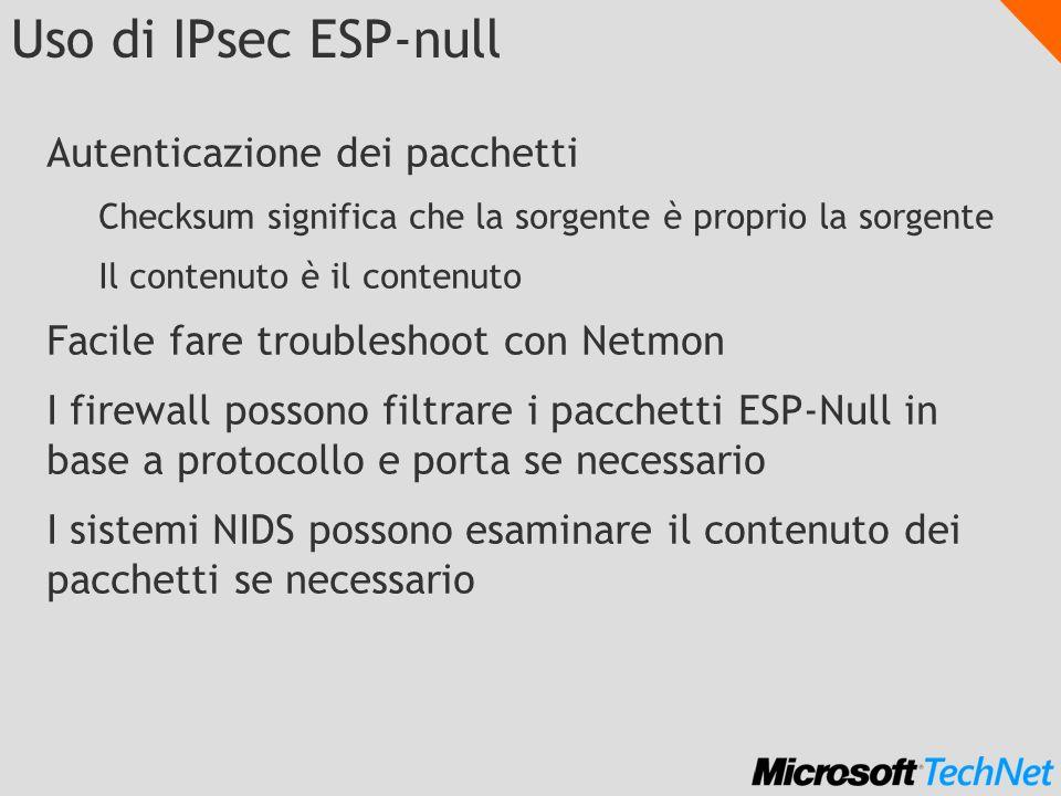 Uso di IPsec ESP-null Autenticazione dei pacchetti