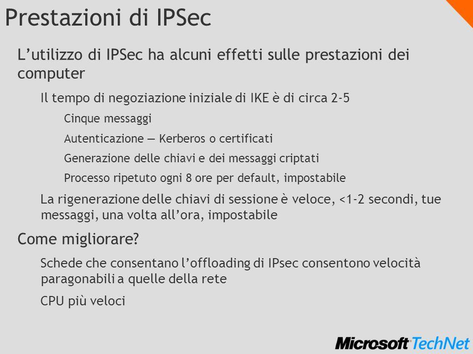 Prestazioni di IPSec L'utilizzo di IPSec ha alcuni effetti sulle prestazioni dei computer. Il tempo di negoziazione iniziale di IKE è di circa 2-5.
