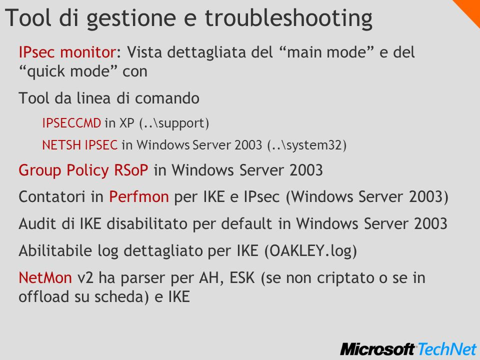 Tool di gestione e troubleshooting