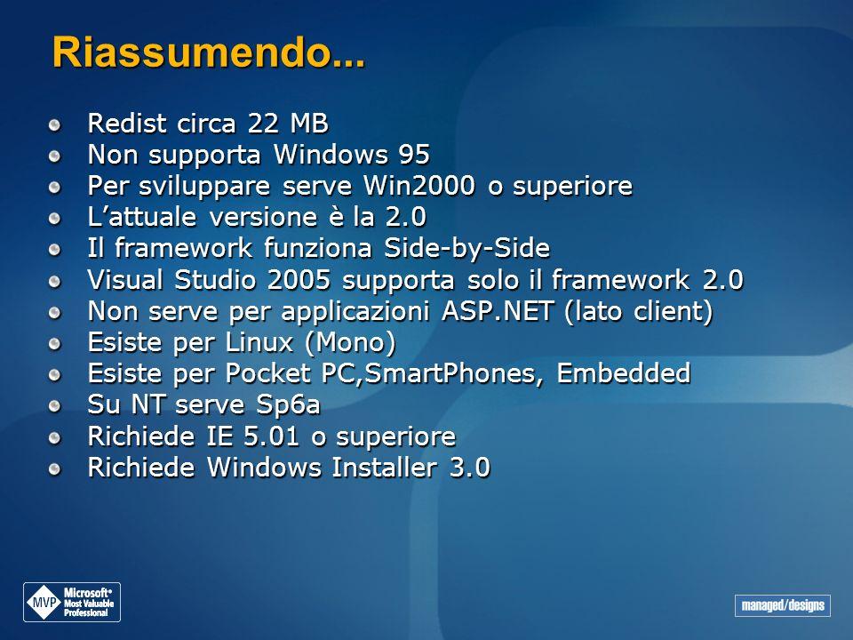 Riassumendo... Redist circa 22 MB Non supporta Windows 95