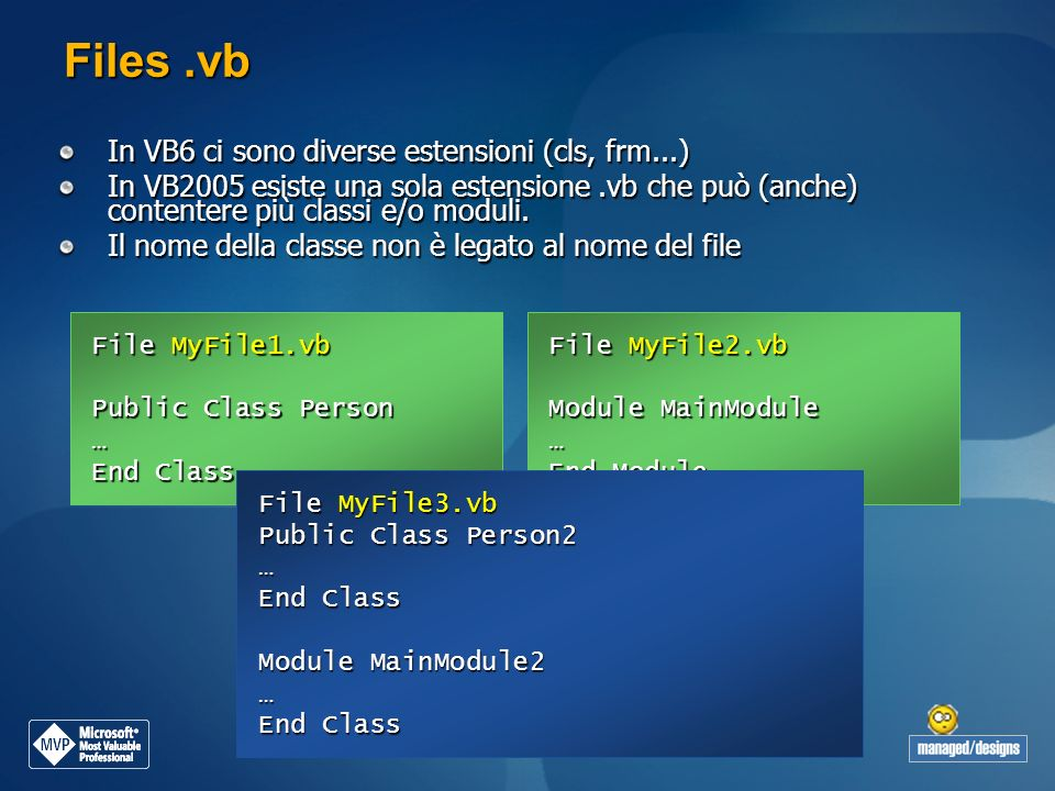 Files .vb In VB6 ci sono diverse estensioni (cls, frm...)