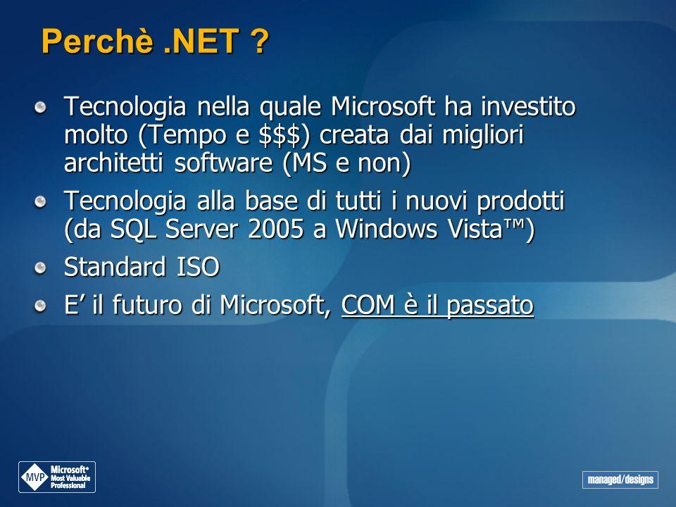 Perchè .NET Tecnologia nella quale Microsoft ha investito molto (Tempo e $$$) creata dai migliori architetti software (MS e non)