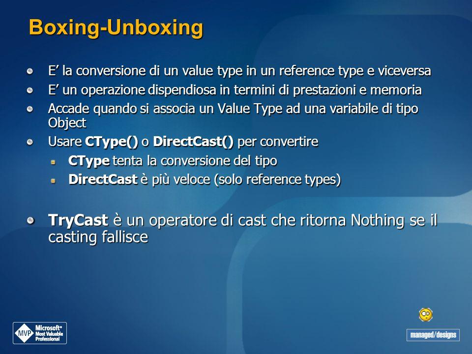 Boxing-Unboxing E' la conversione di un value type in un reference type e viceversa.