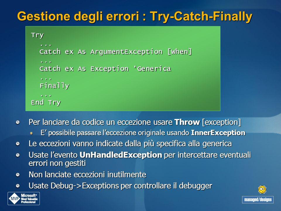 Gestione degli errori : Try-Catch-Finally