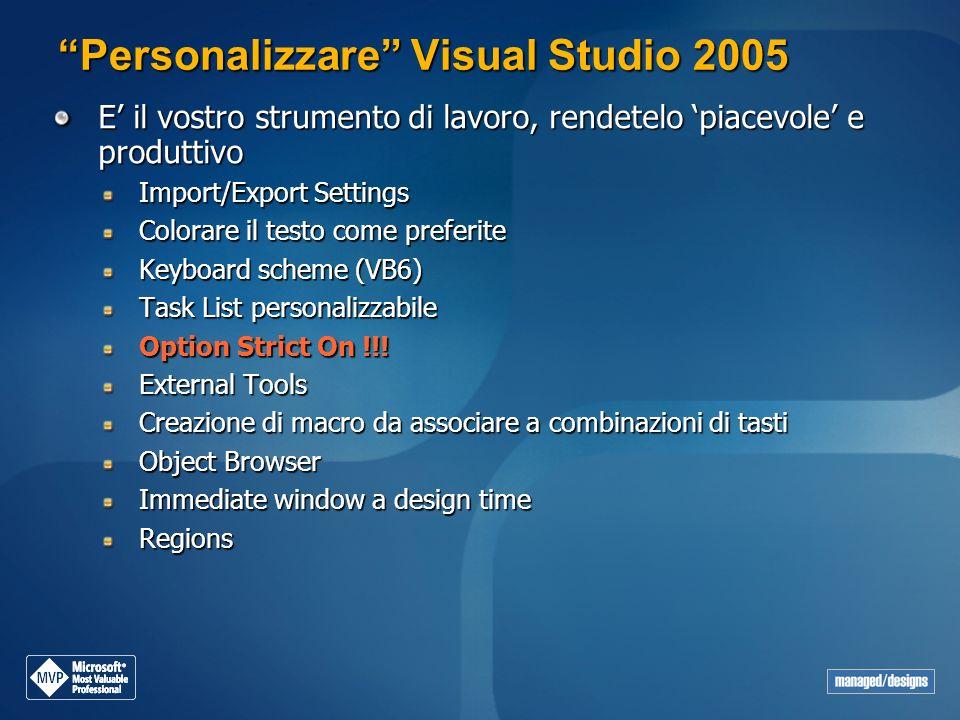 Personalizzare Visual Studio 2005