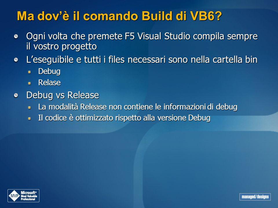 Ma dov'è il comando Build di VB6