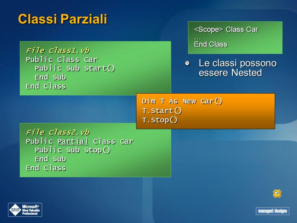 Classi Parziali Le classi possono essere Nested
