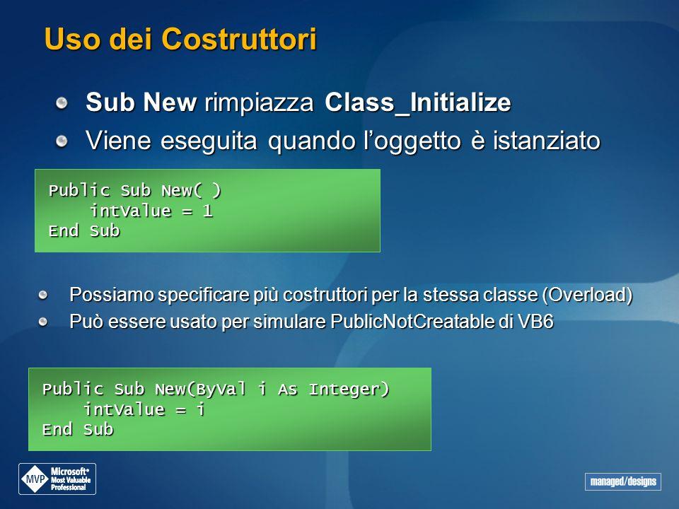 Uso dei Costruttori Sub New rimpiazza Class_Initialize