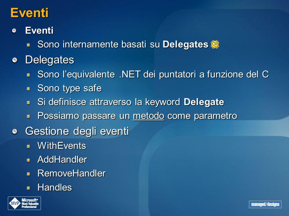 Eventi Delegates Gestione degli eventi Eventi